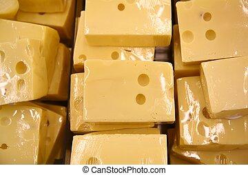pedaços, de, queijo