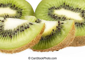 pedaços, de, verde, kiwi, isolado, branco, fundo