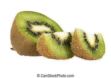 pedaços, de, verde, kiwi, isolado, branco, fundo, cima