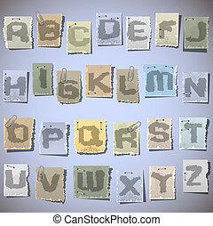 pedaços, papel, alfabeto, antigas, tinta