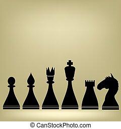 pedaços, silhuetas, xadrez