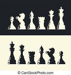 pedaços xadrez, collection., vetorial