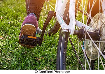 pedaal, fiets, vrouwlijk, been