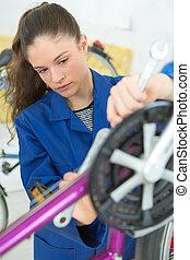 pedaal, fiets, werktuigkundige, vrouwlijk, verscherping