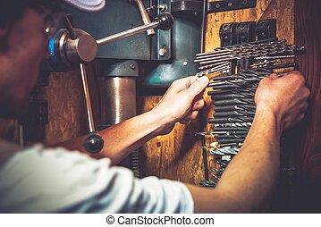 pedacito, trabaja, perforación, taladro, opción