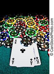 pedacitos del póker, con, ak