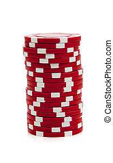 pedacitos del póker, rojo blanco, pila