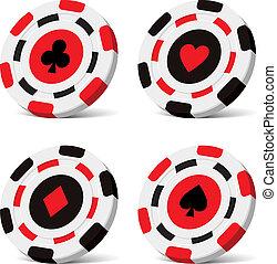 pedacitos, póker, vector