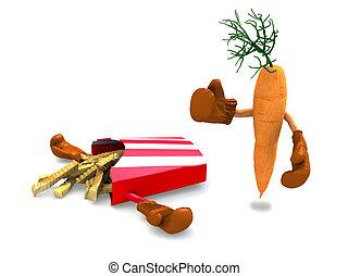 pedacitos, pelea, zanahoria, papa