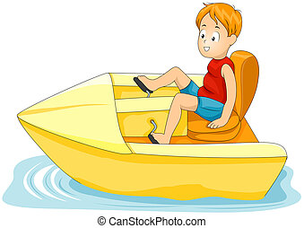 Pedal Boat - Illustration of a Little Boy Driving a Pedal-...