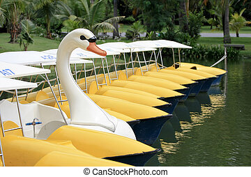 Pedal boat in form of a swan