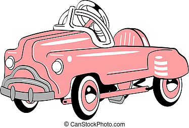 Pedal Car Retro Vintage 50s Cartoon - Pedal car in retro or...