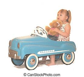 Pedal Car With Bear 4021 - little girl and teddy bear in...