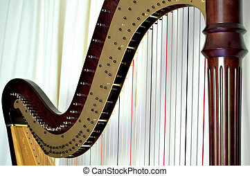 Pedal harp closeup - Closeup of the strings and mechanisms ...