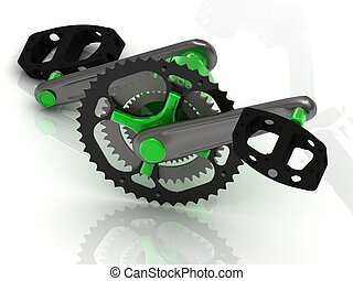 Pedal with gears and levers of the sports bike