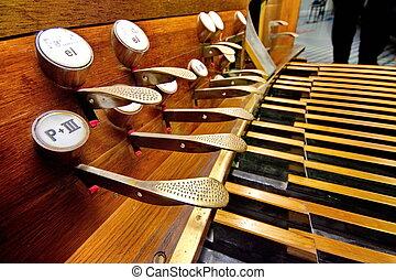 pedalen, oud, orgaan, bruine