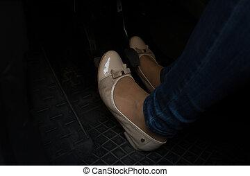 pedalen, vrouw, schoentjes, auto, beeld, comfortabel, dringend, closeup