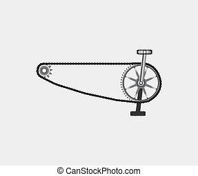 pedales, cadena de bicicleta