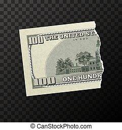 pedazo, billete de banco, dólares, falsificación, espalda, nosotros, uno, mitad, cien, lado