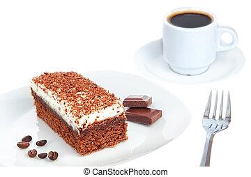 pedazo bizcocho chocolate, y, coffee., en, un, blanco,...