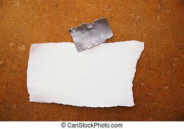 pedazo, de, blanco, rasgado, papel, en, grunge, plano de fondo