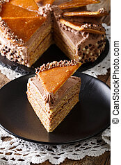 pedazo, de, húngaro, dobos, pastel, con, caramelo,...