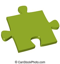 pedazo del rompecabezas, verde, 3d