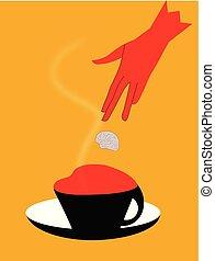 pedazo, illustrtaion, azúcar, caído, café, abrain