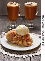 pedazo, pastel de manzana