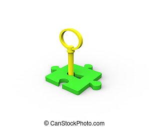 pedazo, rompecabezas, llave