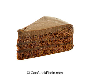 pedazo, torta de chocolate