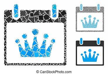 pedazos, icono, día, corona, mosaico, andrajoso, calendario