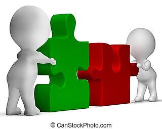 pedazos jigsaw, ser, unido, actuación, trabajo en equipo, y,...