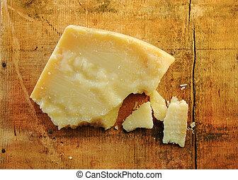 pedazos, queso, madera, parmesano
