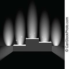 pedestal, com, vertical, fundo, luzes
