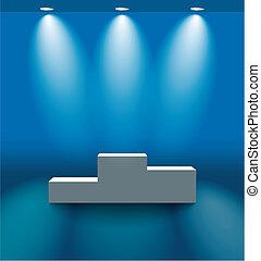 pedestal, em, a, azul, sala