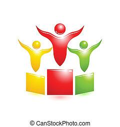 pedestal, icon., conceito, vetorial, pessoas