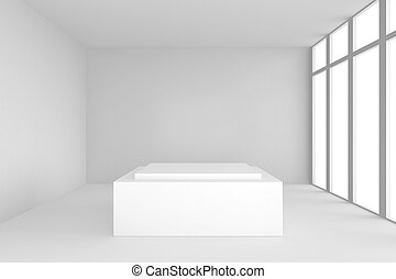 pedestal in white room with windows.