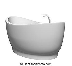 Pedestal modern white bathtub