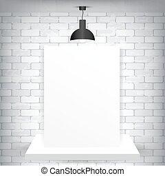 pedestal, papel, em branco