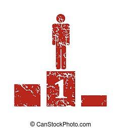 Pedestal red grunge icon