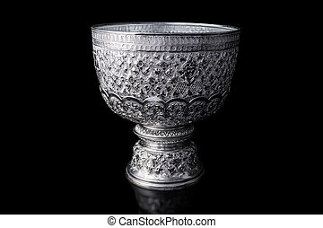 Pedestal - Thai aluminum bowl with stand pedestal, with thai...