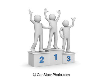 pedestal, vencedores, distinguindo, cerimônia