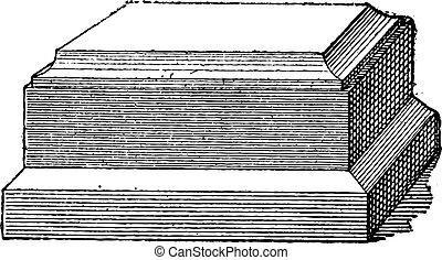 Pedestal vintage engraving - Old engraved illustration of...