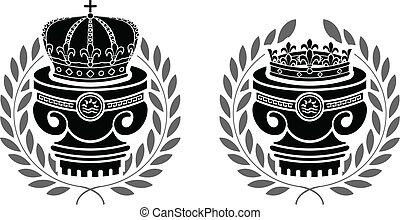 pedestals of crowns. stencils. second variant.
