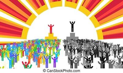 """pedestals"""", ou, vainqueurs, dirigeants, différent, """"two"""