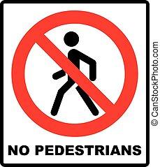 pedestrain, vecteur, non, prohibition, signe