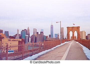pedestrian 通路, の, ブルックリン 橋, 中に, ニューヨーク