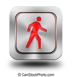 Pedestrian aluminum glossy icon, button, sign