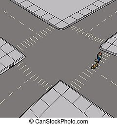 Pedestrian and Animal on Street - Pedestrian crossing street...